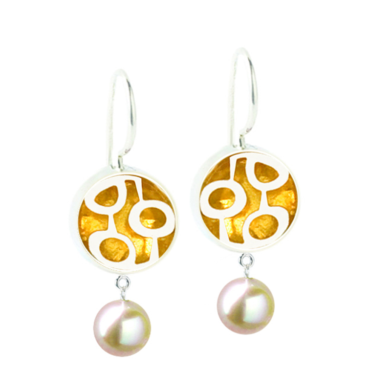 """3523 r Mini Round """"Jeweled"""" French wire earrings with pearl ..."""